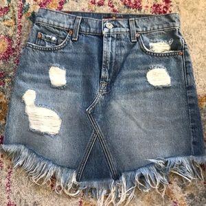 7 For All Mankind Frayed Hem Denim Skirt - Size 25